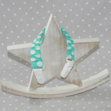 Clip attache bavette/serviette/doudou thème pois turquoise