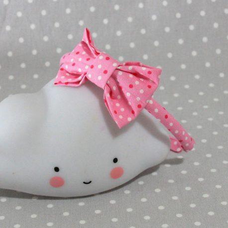 serre-tête petit nœud/accessoire enfant rose à pois- pink spot kid's headband