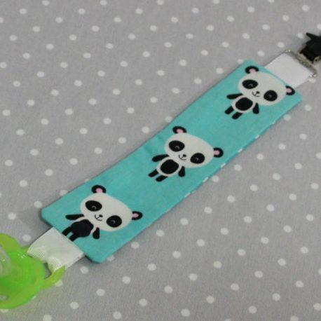Attache-tétine tissu fait main thème panda