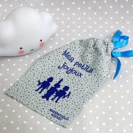 Pochon/petit sac en coton pour mes joujoux, thème playmobil