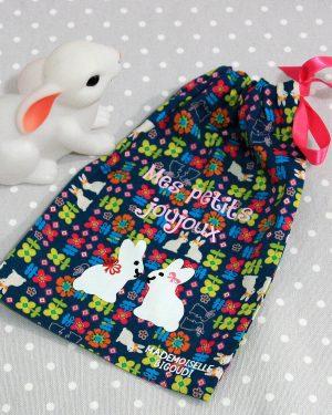Pochon/petit sac en coton pour mes joujoux, thème lapin
