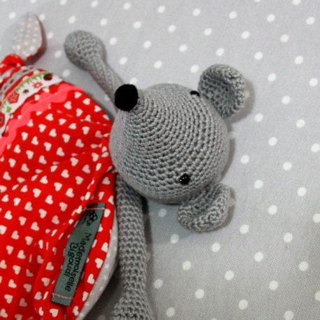 Papillotte, doudou bébé, souris au crochet fait main 2