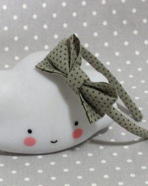 serre-tête petit nœud/accessoire pois gris