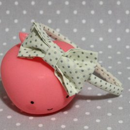 serre-tête petit nœud/accessoire pois argent
