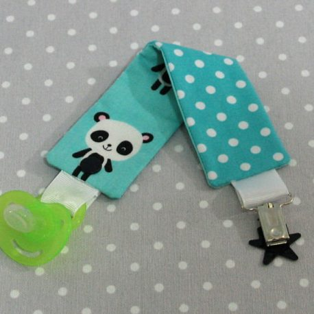 Attache-tétine tissu fait main thème panda 2