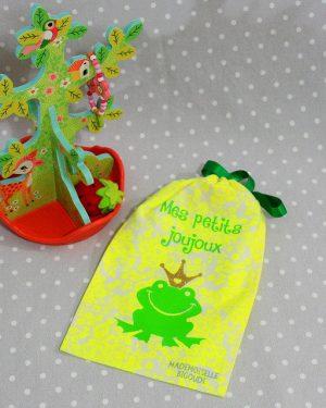 Pochon/petit sac en coton pour mes joujoux, thème grenouille
