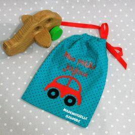Pochon/petit sac en coton pour mes joujoux, thème voiture