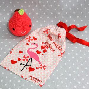 Pochon/petit sac en coton pour mes joujoux, thème flamand rose