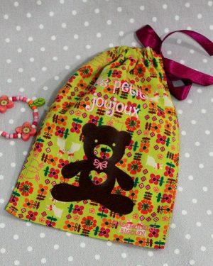 Pochon/petit sac en coton pour mes joujoux, thème nounours