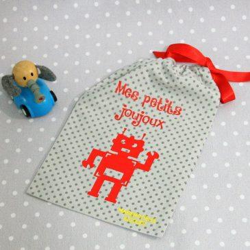 Pochon/petit sac en coton pour mes joujoux, thème robot