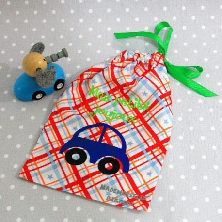 Pochon/petit sac en coton pour mes joujoux, thème voiture bleue