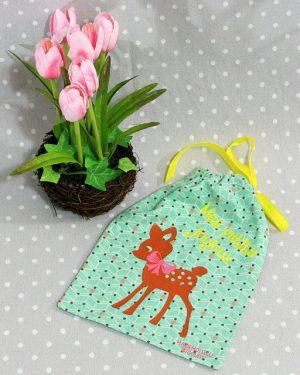 Pochon/petit sac en coton pour mes joujoux, thème faon