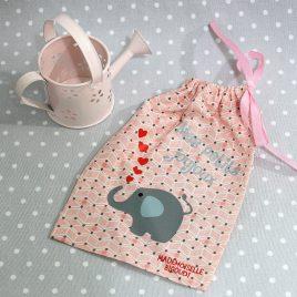 Pochon/petit sac en coton pour mes joujoux, thème éléphant