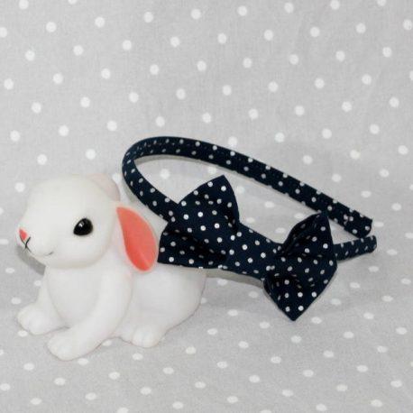 serre-tête petit nœud/accessoire bleu marine à pois argentés