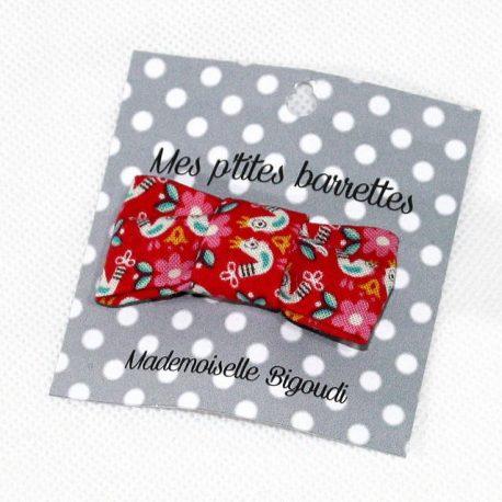 Mes petites barrettes de Mademoiselle Bigoudi/ pince crocodile oiseaux rouges