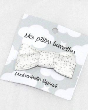 Mes petites barrettes de Mademoiselle Bigoudi/ pince crocodile pois argent