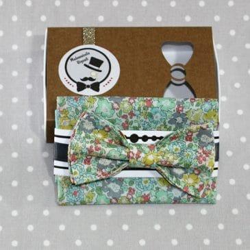 Ensemble pochette et Nœud papillon pré-noué / ajustable pour homme Liberty Michele Chrysolite