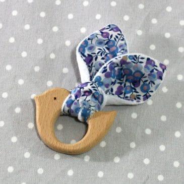 Anneau de dentition oiseau en Liberty Wilshire mutli bleu