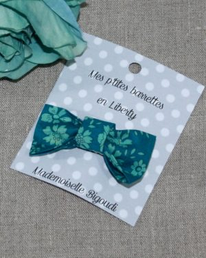 Barrette en Liberty Capel green turquoise