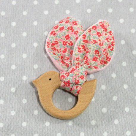 Anneau de dentition oiseau à fleurettes rose