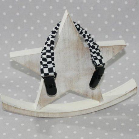 Clip attache bavette/serviette/doudou thème damiers
