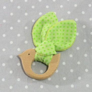 Anneau de dentition oiseau à pois verts