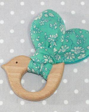 Anneau de dentition oiseau en Liberty Capel turquoise