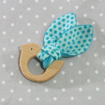 Anneau de dentition oiseau à pois bleus