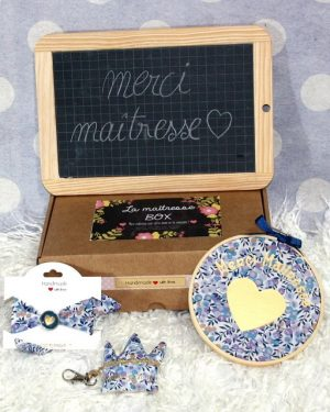 "Box ""Merci Maîtresse"" Liberty Wiltshire multi bleu"