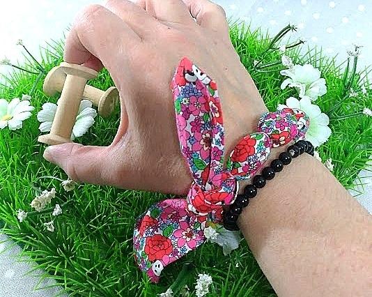 Bracelet à nouer femme Liberty Phoebe corail 2