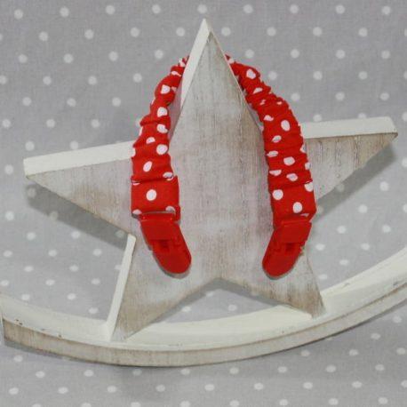 Clip attache bavette/serviette/doudou thème pois rouges