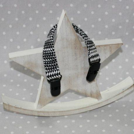 Clip attache bavette/serviette/doudou thème noir et blanc
