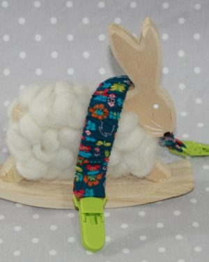 Clip attache bavette/serviette/doudou thème lapin bleu