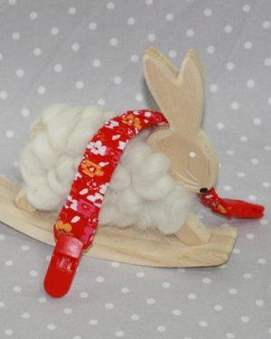 Clip attache bavette/serviette/doudou thème fleurs rouges