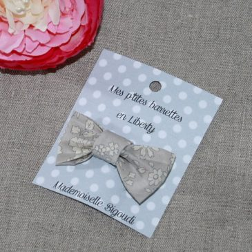 Barrette en Liberty Capel gris