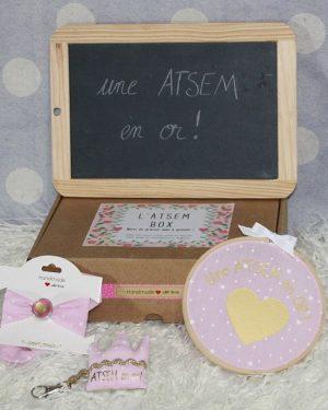 """Box """"Une Atsem en or"""" étoiles rose"""