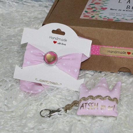 Box «Une Atsem en or» étoiles rose 2
