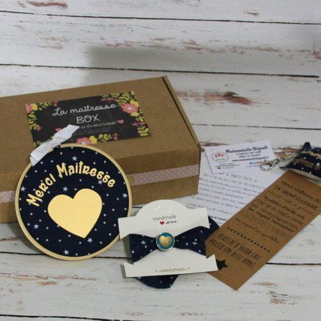 """Box """"Merci Maîtresse"""" étoiles bleu marine"""