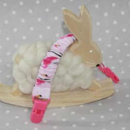 Clip attache bavette/serviette/doudou thème Flamand rose