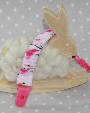 Clip attache bavette/serviette/doudou thème Flamand rose