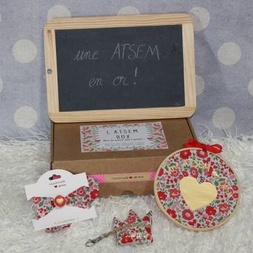 "Box ""Une Atsem en or"" Liberty Danjo rouge"