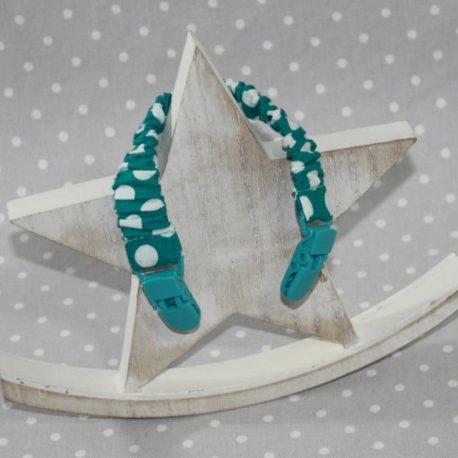 Clip attache bavette/serviette/doudou thème pois bleu canard