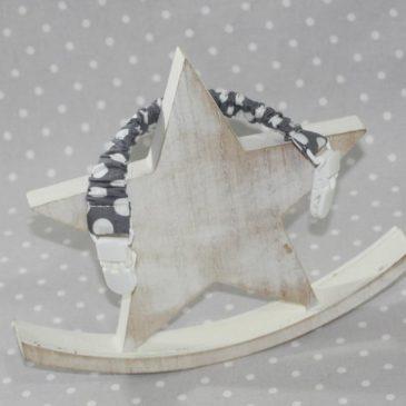 Clip attache bavette/serviette/doudou thème pois gris