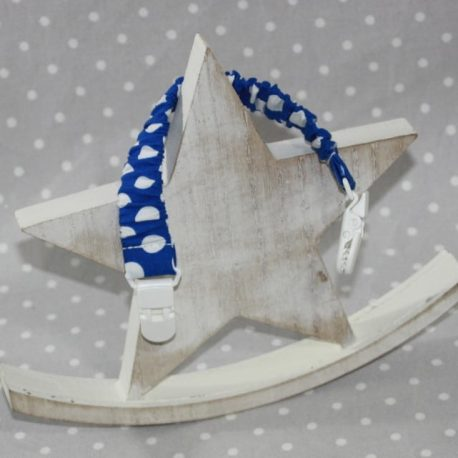 Clip attache bavette/serviette/doudou thème pois bleu electrique