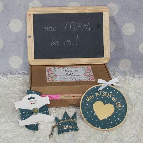 """Box """"Une Atsem en or"""" étoiles bleu canard"""