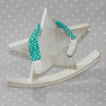 Clip attache doudou/ bavoir thème pois turquoise