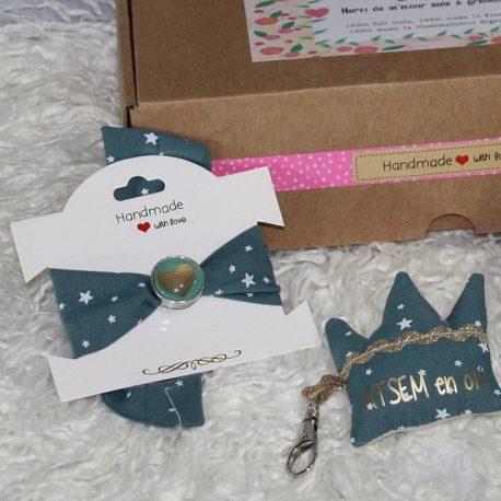 Box «Une Atsem en or» étoiles bleu canard 2