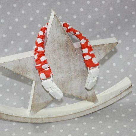 Clip attache bavette/serviette/doudou thème orange à pois
