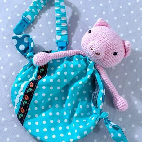 Clip attache bavette/serviette/doudou thème lapin bleu 2