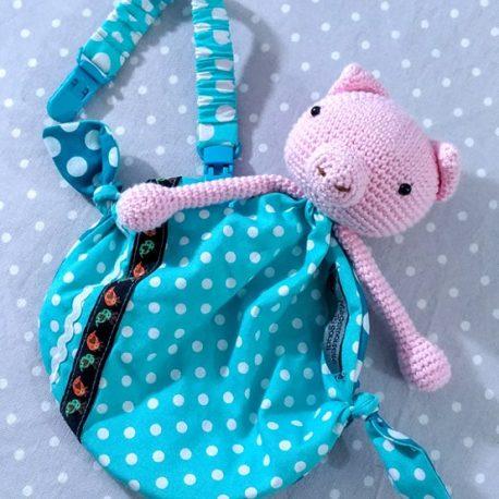 Clip attache bavette/serviette/doudou thème cœur roses 2